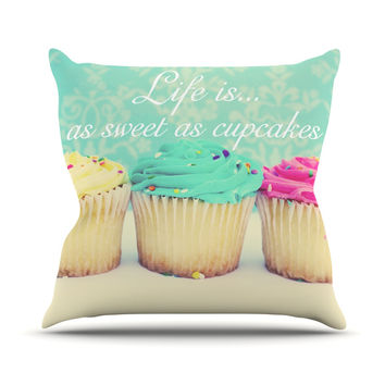 "Beth Engel ""Life Is As Sweet As Cupcakes"" Green Throw Pillow"