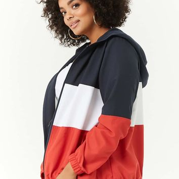 Plus Size Colorblocked Hooded Jacket