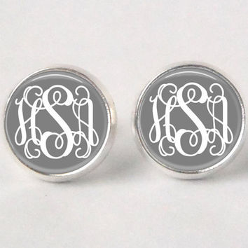 Monogram Stud Earrings  255  Gray & White by neworleansbeanieco