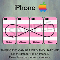 Best Friends Forever and Ever Infinity Pink Stripe iPhone case - Personalized iPhone 4 case or iPhone 5 case - Four Case Set