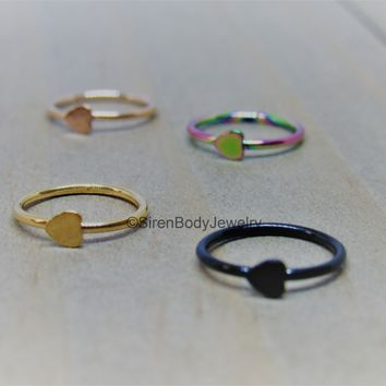 Heart nose piercing hoop ring 20g easy bend cartilage helix hoops black rose gold rainbow 5/16""