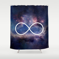 Infinity Symbol Stars Galaxy Space Shower Curtain by RexLambo