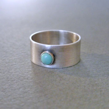 Natural Turquoise Cigar Band Ring in Sterling Silver for Men or Women - Arizona Kingman Turquoise