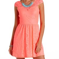 Neon Bow-Back Lace Skater Dress by Charlotte Russe - Hot Coral