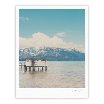 "Laura Evans ""Down By The Lake"" Blue Brown Fine Art Gallery Print"