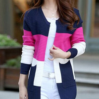 Color Block Double-Pocket Fashionable Scoop Neck Long Sleeve Cardigan For Women