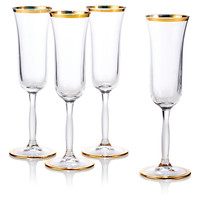 Flute Glasses w/ Gold Rim, Set of 4, Stemware