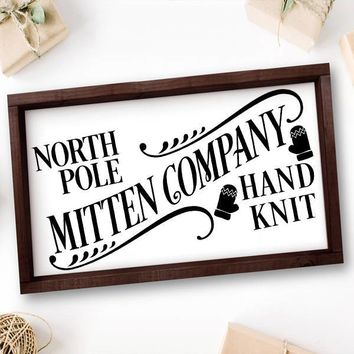 North Pole Mitten Company Hand Knit Framed Canvas Sign