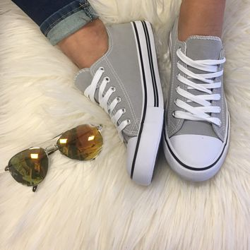 Just Kickin' It Converse Inspired Sneakers - Gray