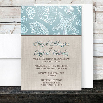 Beach Linen Reception Only Invitations - Rustic Blue Seashell pattern with Brown and Beige Linen design - Post-Wedding Reception - Printed