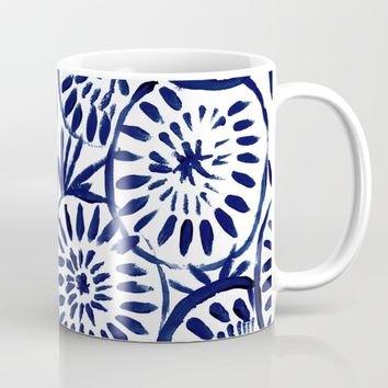Painted Medallions Navy Mug by CRYSTAL WALEN