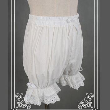 DCCKLW8 Sweet Cotton Lolita Shorts/Bloomers with Lace Trimming