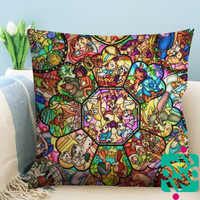 All Disney Characters Stained Glass Zippered Pillow Case, Cushion Case, Pillow case