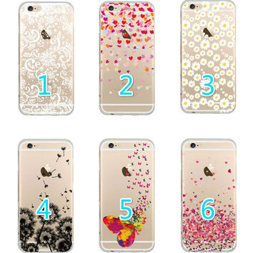 Ultra Thin Soft TPU Butterfly Daisy Love Heart Lace Pattern Phone Case Transparent Back Cover for Apple iPhone 5 5S SE 6 6S 6Plus 6S Plus