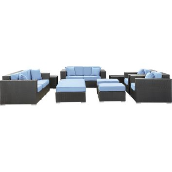 Modern Patio Furniture Eclipse 9 Piece Sofa Set Espresso Light Blue Cushions