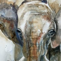 Elephant Fine Art PRINT (from Watercolor Elephant Painting) 8 x 10 in grey blue gray brown beige tan brown ( Part of my jungle zoo set)