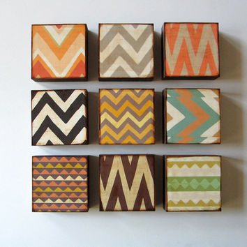 Triangles Pyramid 5x5 art block on wood Pattern by redtilestudio