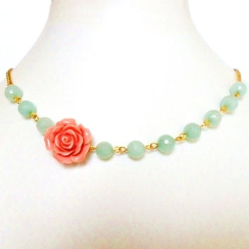 Mint Coral and Gold Necklace, Rockabilly Flower Necklace, with faceted amazonite and vintage style rose - Pin Up Burlesque