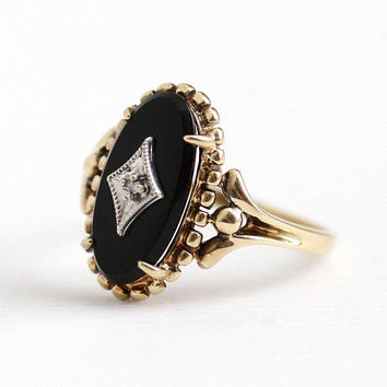 Vintage Onyx Ring - 10k Rosy Yellow Gold Genine Diamond Black Onyx Statement - 1950s Size 8 3/4 Oval Chalcedony Gemstone 50s Fine Jewelry