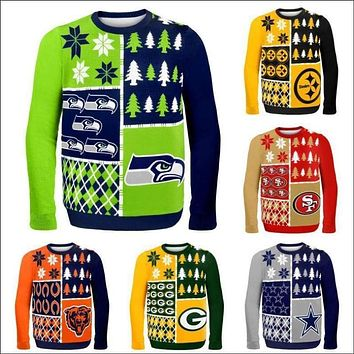 NFL Football 2014 Logo Ugly Christmas Sweater, Busy Block Style, - Pick Your Team,!