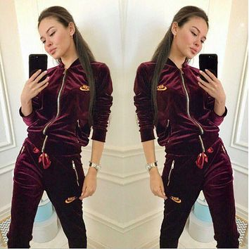 NIKE Women Fashion Letter Long Sleeve Shirt Sweater Pants Sweatpants Set Two-Piece