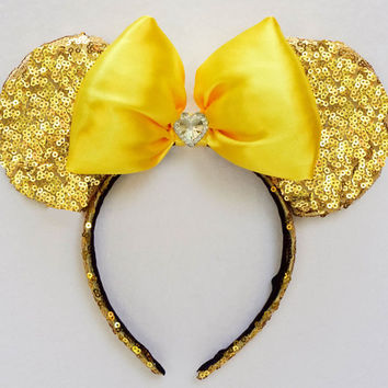 Minnie Mouse Ears Gold Sequin Disney Ears Beauty and the Beast Ears Mickey Mouse Ears Mickey Ears Minnie Mouse Bow Minnie Ears Minnie Bow