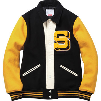 Supreme: Captain Varsity Jacket - Black