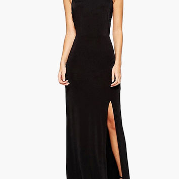 Black Halter Backless High Side Slit Maxi Dress