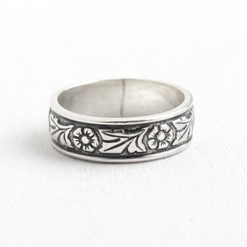 Vintage Sterling Silver Orange Blossom Flower Eternity Ring - Retro Art Deco Style Size 4 3/4 Cigar Band Milgrain Jewelry Hallmarked WM