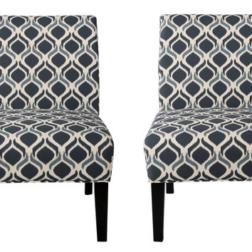Kendal Blue/ Navy Fabric Accent Chair (Set of 2)