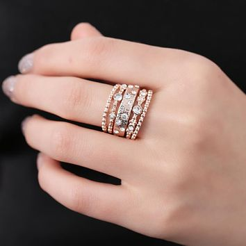 Rose Gold and Crystal 5-Piece Ring Set