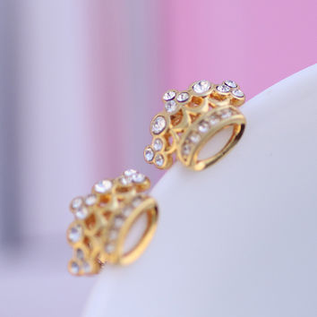 Accessory Gold Diamonds Lovely Crown Earring Jewelry [6573075271]