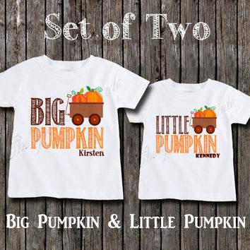 Matching Big Sister or Brother and Little Sister or Brother Shirts - Fall Autumn Themed Pumpkin Sibling Shirts - Personalized Custom Tshirts
