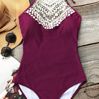 Cupshe Broken Wine Halter One-piece Swimsuit