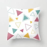 Color Triangles Throw Pillow by HelloM