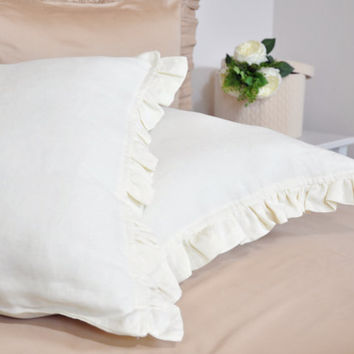 Linen Ruffle Pillowcase Set of 2, Ivory, Cream, Off White - Natural, Pure 100% Linen Pillow Sham Cover - Standart, Queen, King, Euro Size