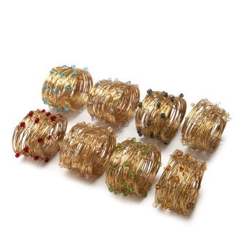 Deborah Rhodes Oval Beaded Wire Cuff Napkin Ring S/ 6