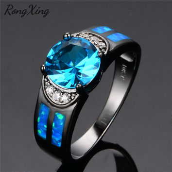 RongXing Ocean Blue Fire Opal Wedding Rings For Women Birthday Gift Vintage Black Gold Filled Lake Blue Round Zircon Ring RB0270