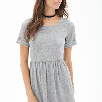 FOREVER 21 Ribbed Knit Marled Dress Heather Grey
