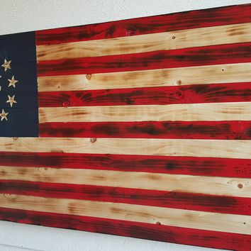 1776 Handcrafted Wooden American Flag