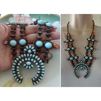 Squash Blossom Necklace Turquoise Copper Tone Metal Naja Centerpiece Bold Southwest Fashion Necklace  Vintage Native American Inspired Squash Blossom Necklace