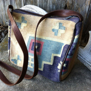 Vintage Southwest Kilim Blanket purse by arubyrosebud on Etsy