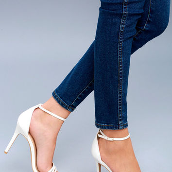 Iva White Ankle Strap Heels