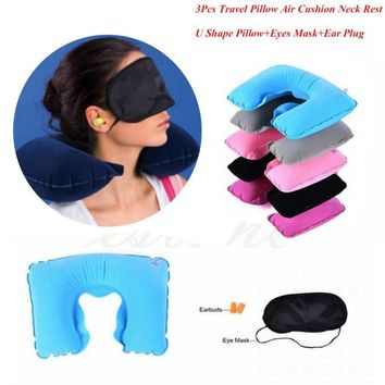 2018  1 set of Travel Kit Inflatable U shape Neck Pillow+eye Mask+Ear Plugs Grey and Blue Ostrich Pillow Cushion Radom Color