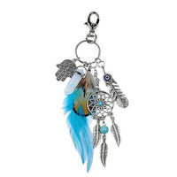 Beautiful Hand of Hamsa  Dream Catcher Feathers Boho Chic Key Chains