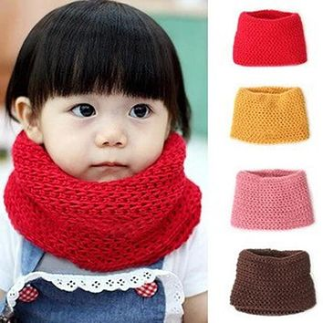 2017 Hot Selling Winter Neckerchief Women Children's Cotton Muffler Baby bib Warm Soft Boys Scarves Girls Knitted O Ring Scarf60