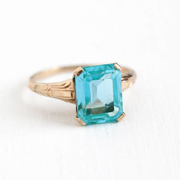 Vintage 10k Rose Gold Created Teal Blue Spinel Ring - 1940s Size 6 1/4 Lab Created Approx 3 Carat Emerald Cut Stone Fine Jewelry