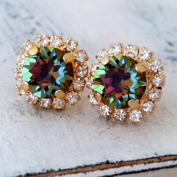 Rainbow crystal earrings, Green pink blue crystal stud earrings, Swarovski Crystal stud earrings, multicolor jewel tone stud earrings