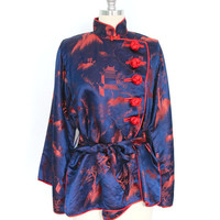 1920s Chinoiserie Blouse / 20s Silk Mandarin Blouse / Blue Orange Dragons Pagodas / Downton Abbey