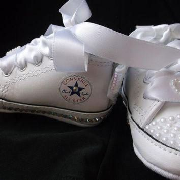 DCKL9 Bling Converse, AB Crystals, Baby Shoes, High Top Sneakers, Pearls Rhinestones, Size 1